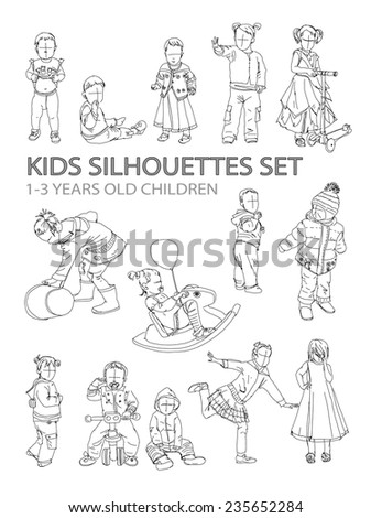 Little kids silhouettes, sketch collection - stock vector