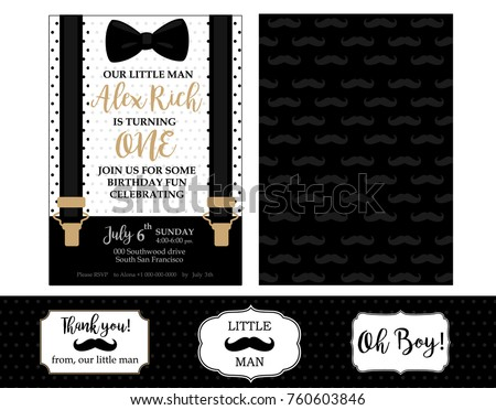 Little man birthday party baby shower stock vector 760603846 little man birthday party baby shower party invitation card vector bow tie and filmwisefo