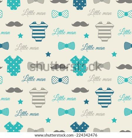 Little Man Seamless Pattern Blue Gray Stock Vector