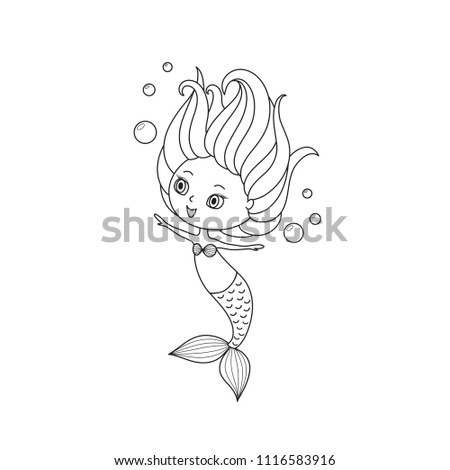 Little Mermaid Coloring Book Page Black Stock Vector 1116583916 ...