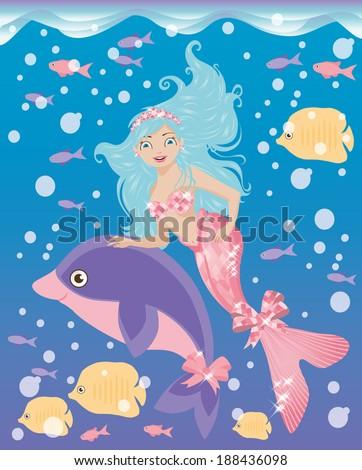 Little mermaid girl and dolphin, vector illustration - stock vector