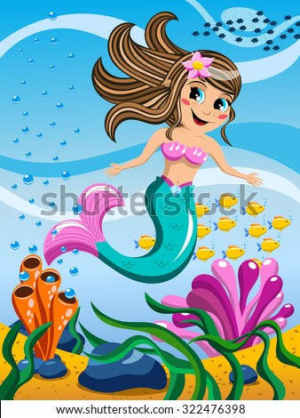 Little Mermaid Swimming Underwater