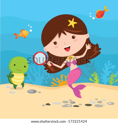 Little mermaid with friends. Little mermaid having fun under the water with sea creatures friends. - stock vector