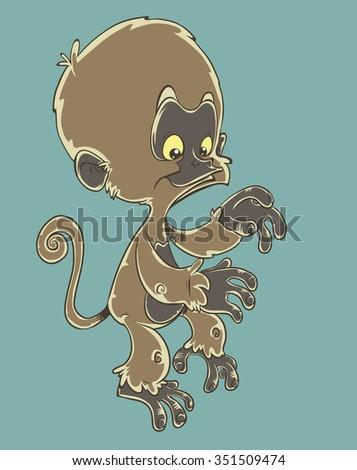 Little monkey - stock vector