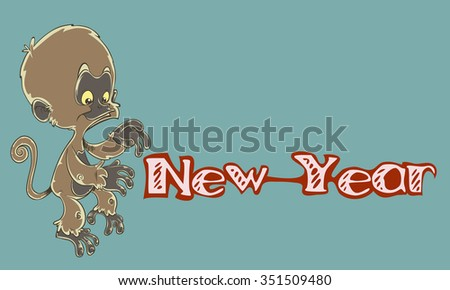 Little monkey New Year - stock vector