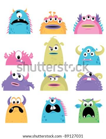 Little Monsters - stock vector
