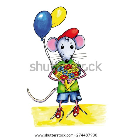 Little mouse child with bouquet birthday flowers and balloons - stock vector