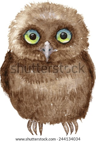 Little owl drawing by watercolor, hand drawn vector illustration - stock vector