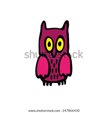 Little owl hand drawing. - stock vector