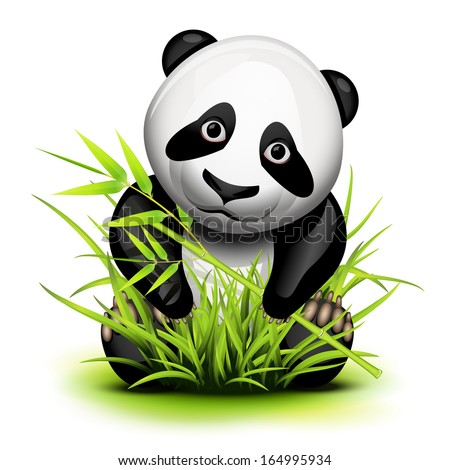 Little panda and bamboo on grass