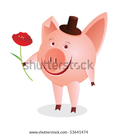 Little piggy with red flower