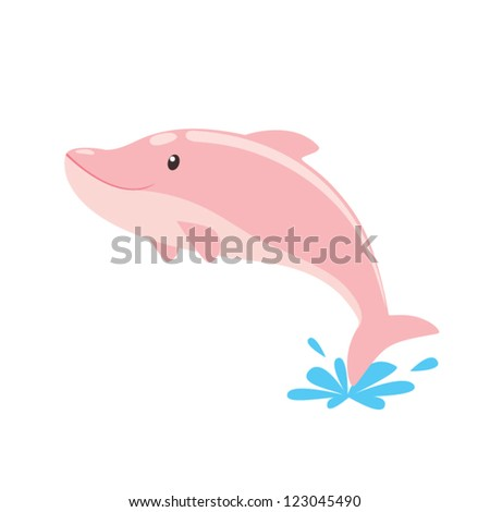 Little pink dolphins - stock vector