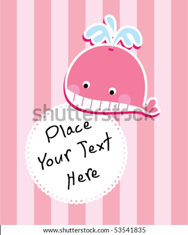 little pink whale greeting - stock vector