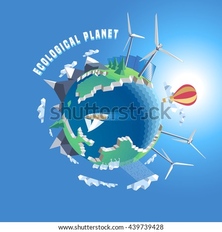 Little planet vector illustration. Eco world, 3d land. Isolated design elements - planet, globe, wind, solar power, green nature - stock vector