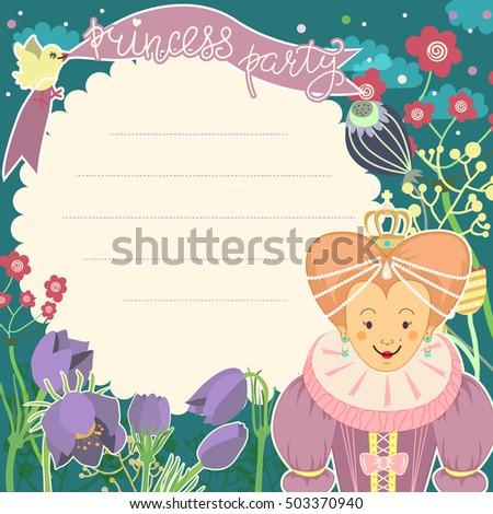 Little Princess Card Template Blank Space Stock Vector 503370940