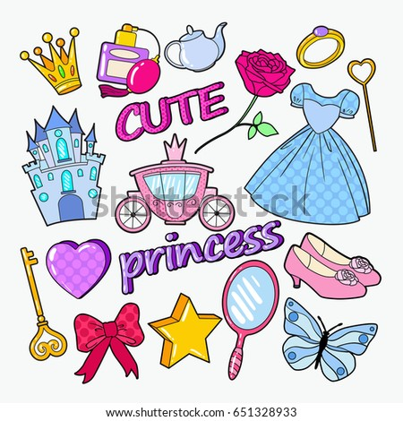 Little Princess Doodle with Castle, Crown and Star. Cute Girl Elements. Vector illustration
