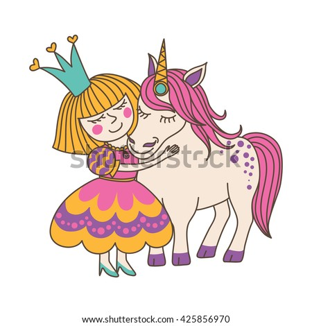 Little Princess Girl and Cute Unicorn, vector illustration