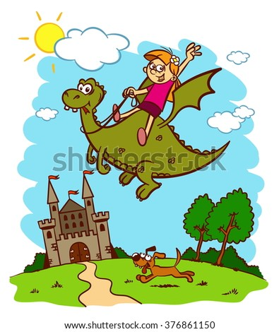 Little princess is flying on a dragon. Fairy tale - stock vector