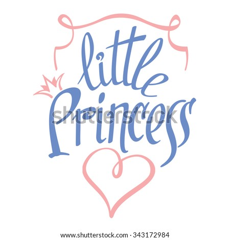 Little Princess lettering for girl t-shirt design. Crown typography, fashion textile, vector illustration - stock vector