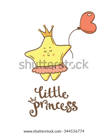 Little princess. Little star. Beautiful greeting card and logo elements in vector - stock vector