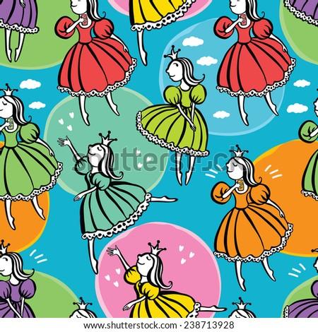 Little princess pattern - stock vector