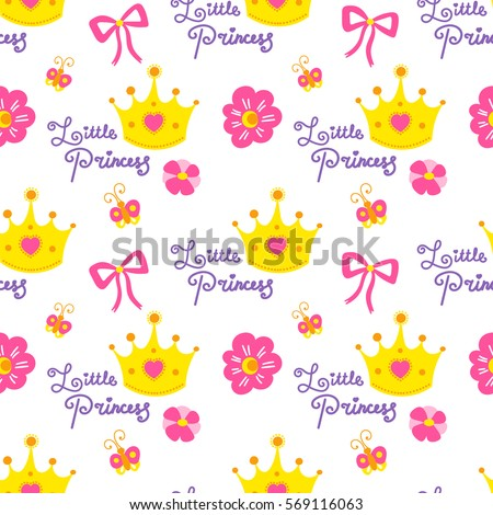Little princess pattern vector cute girl stock vector 569116063 little princess pattern vector cute girl background for template birthday card baby shower invitation stopboris Image collections
