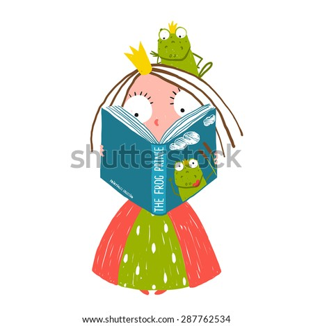 Little Princess Reading Fairy Tale with Prince Frog Sitting on Head. Colorful fun childish hand drawn illustration for kids fairy tale. - stock vector