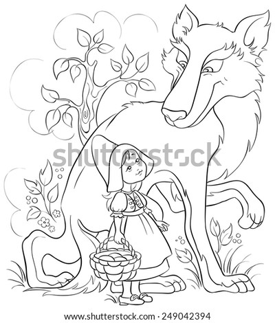 Little Red Riding Hood and Wolf in the forest. Colouring page. Also available colored version - stock vector