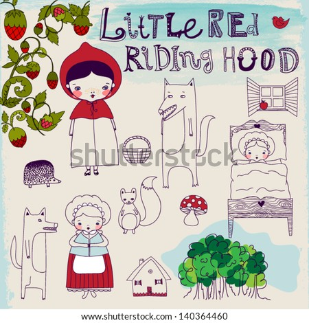 Little Red Riding Hood Fairytale - Hand drawn characters and pictorial elements of a famous fairytale, including Riding Hood's granny, wolf and forest friends - stock vector