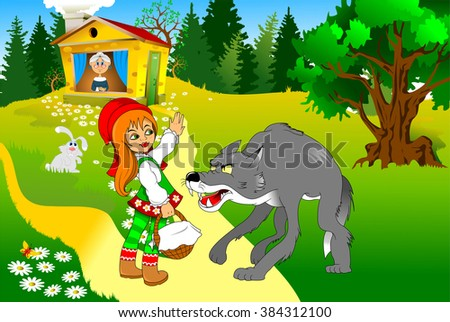 Little Red Riding Hood meeting a wolf, vector and illustration