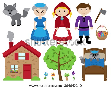 Little Red Riding Hood Themed Vector Collection - stock vector