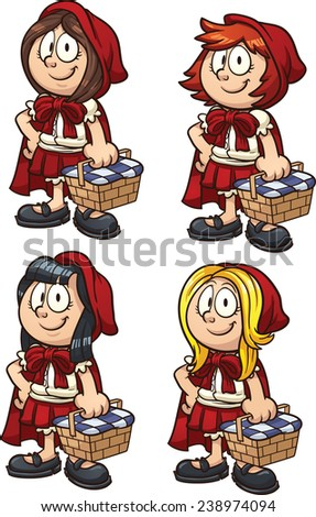 Little Red Riding Hood with four different hairstyles. Vector clip art illustration with simple gradients. Each on a separate layer. - stock vector