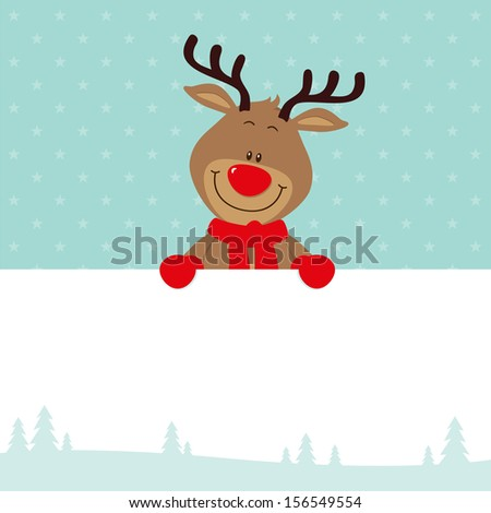 Little reindeer with signboard