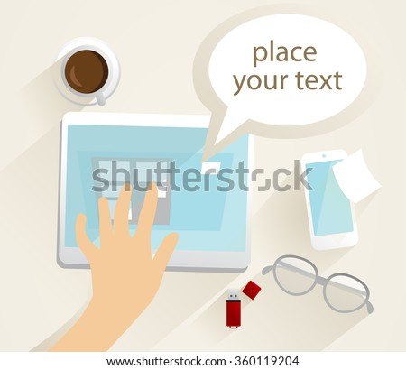 Little research. Flat design, vector draw illustration, computer communication, free space for text input.  - stock vector