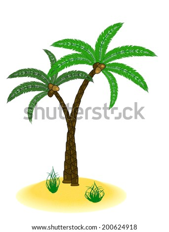 little sanding island with palm tree isolated on white - stock vector