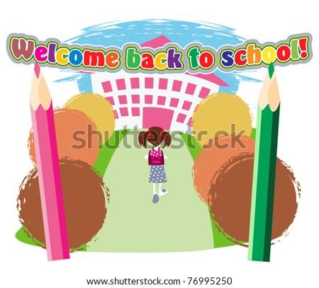 Little schoolgirl with satchel goes to the school entrance - stock vector