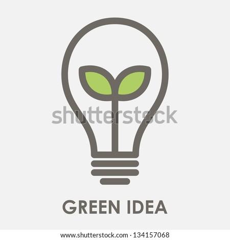 little shoot grow in a light bulb - stock vector