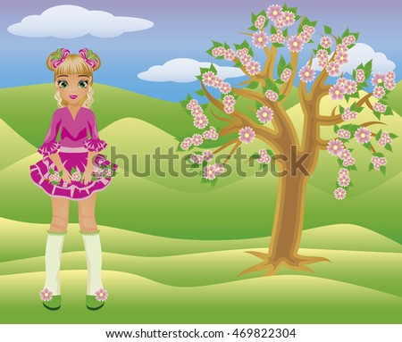 Little spring girl and seasons tree, vector illustration