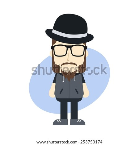 little sprite cartoon hipster with bowler hat - stock vector