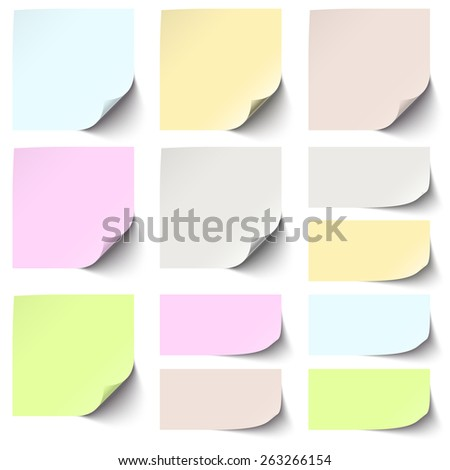 little sticky paper collection with shadow in six different colors - stock vector