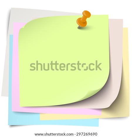 little sticky papers wild about each other with colored pin needle and free copy space - stock vector