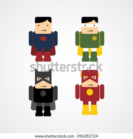 little superhero flat cartoon - stock vector