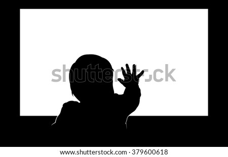 Little toddler touching blank television screen with his hand. Easy editable layered vector illustration.  - stock vector