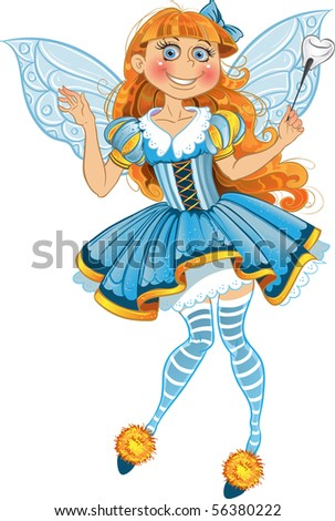 Little tooth fairy with wings - stock vector