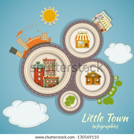 Little Town Infographics. Urban Structure in Cartoon Style. Vector Illustration. - stock vector