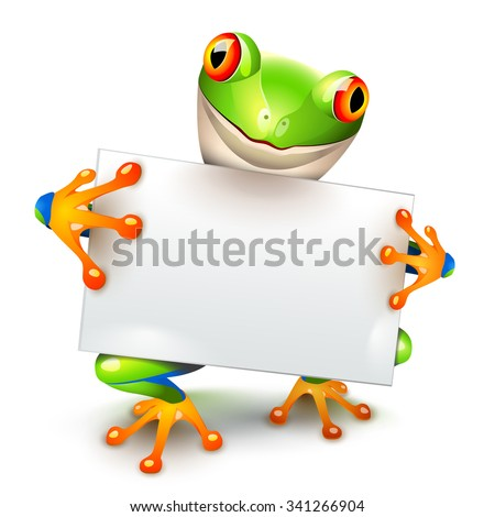 Little tree frog holding a white card for a message - stock vector