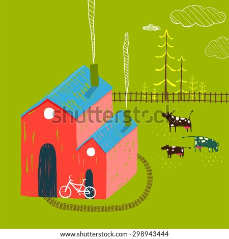 Little Village House Rural Landscape with Forest and Cows on Green. Colored hand drawn sketchy pencil feel illustration of. Countryside landscape with building and a bike. - stock vector