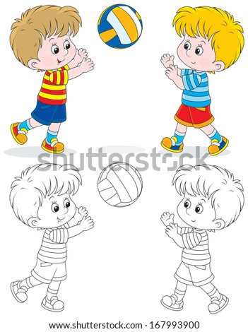 Little volleyball players - stock vector