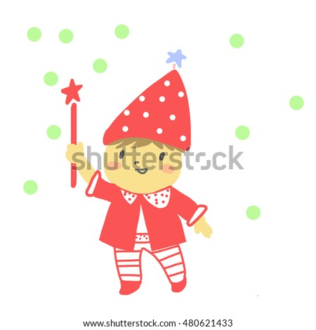 Little wizard with magic wand. vector illustration.