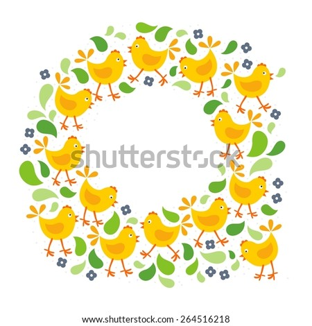 little yellow chickens with green leaves and blue flowers Easter spring holidays themed decorative wreath isolated on white background - stock vector